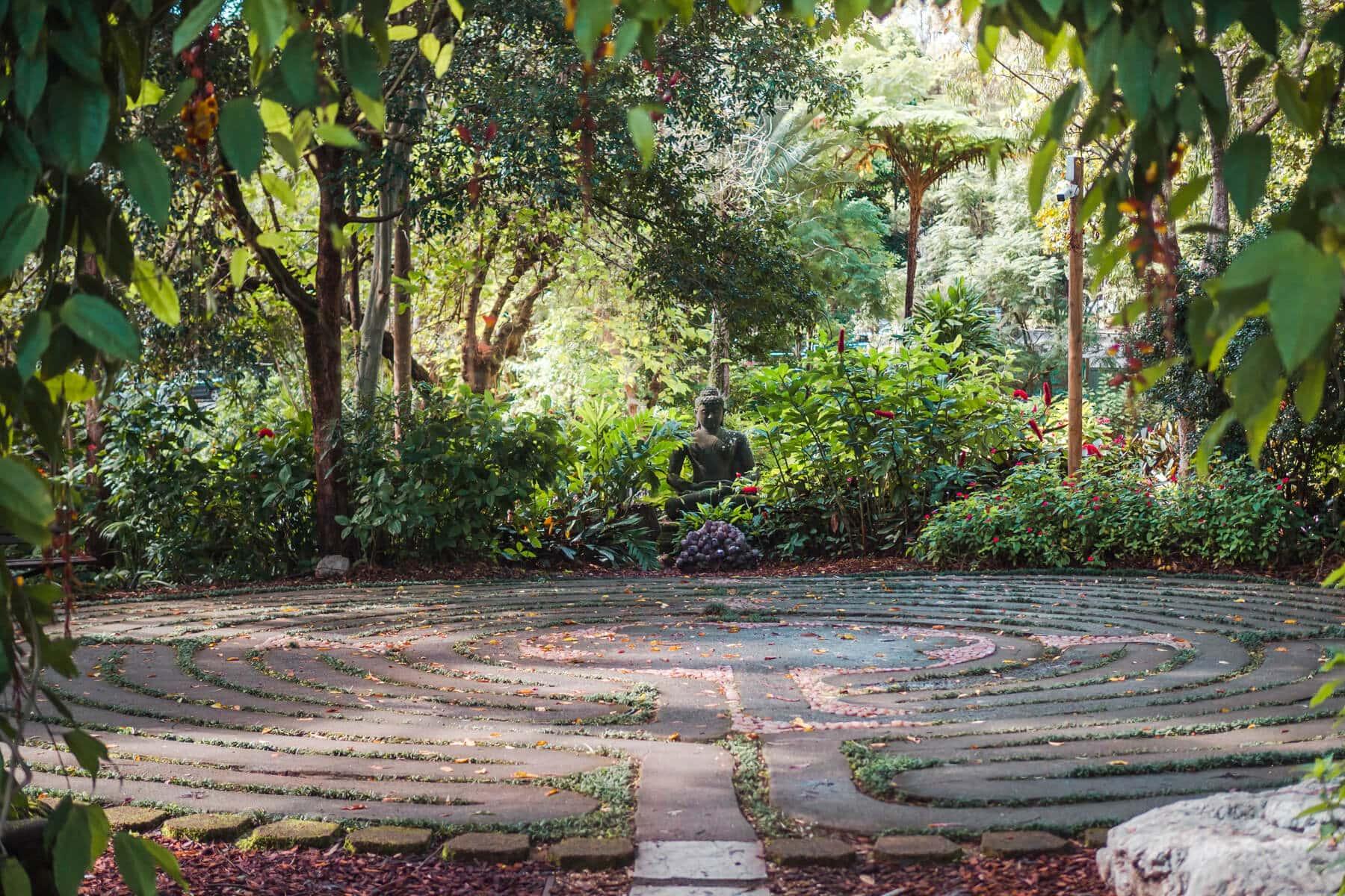 The incredibly stunning Crystal Castle & shambhala Gardens located in the Byron Bay hinterland, NSW Australia - Labyrinth reflection walk