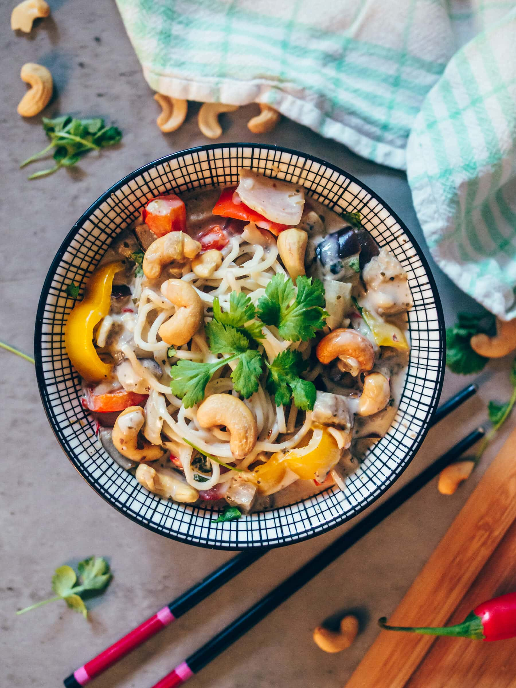 Thai inspired coconut & coriander noodle bowl - Quick & easy vegan recipe