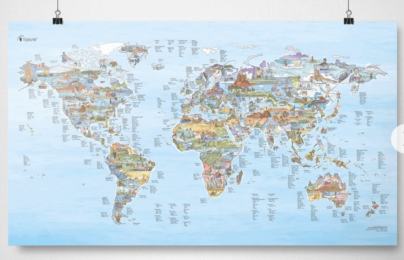 Awesome Maps Worldwide fishing spots - Best travel gift ideas under $50 that are actually useful
