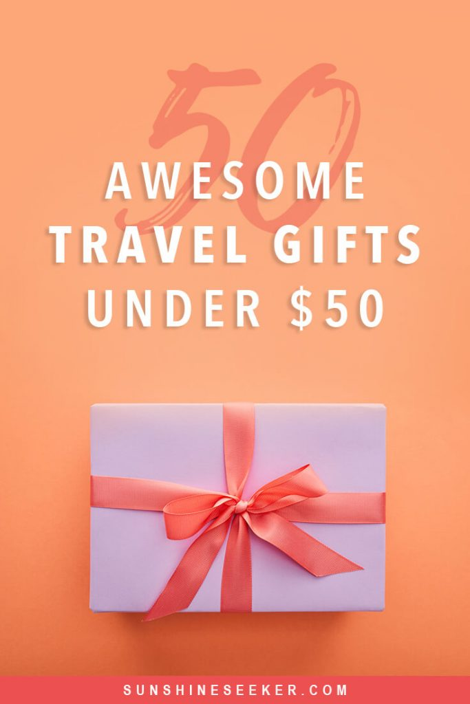 Top 50 travel themed gifts under $50 for men and women. Gifts travelers will actually use #giftideas #christmas #birthdaygift #gifts #uniquegifts