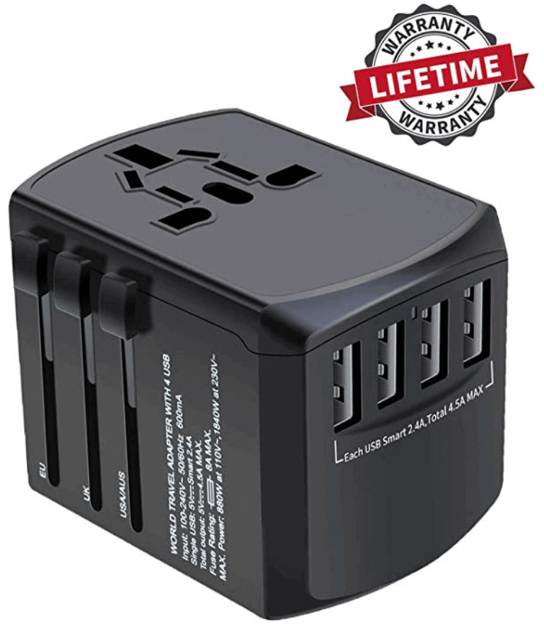 Worldwide travel adapter - Best travel gift ideas under $50 that are actually useful