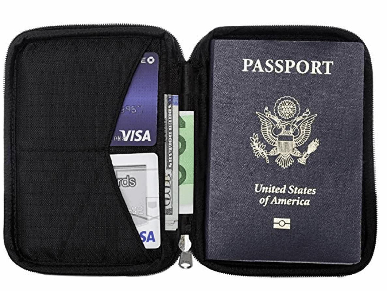 Anti-theft passport holder / travel document organizer - Best useful travel gift idea under $50