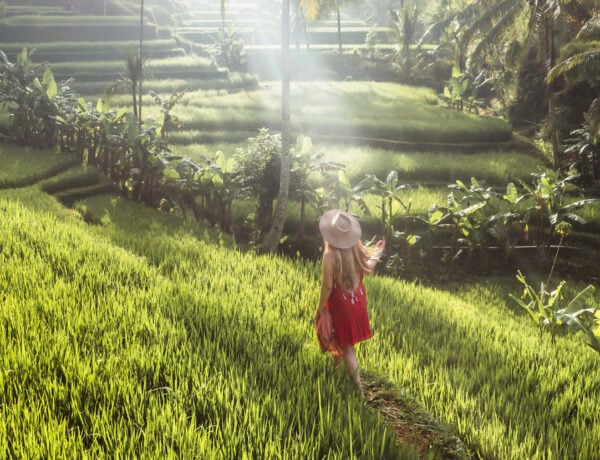 A girl in a red dress walking through the rice fields at sunrise in Tegalalang Rice Terrace, Ubud