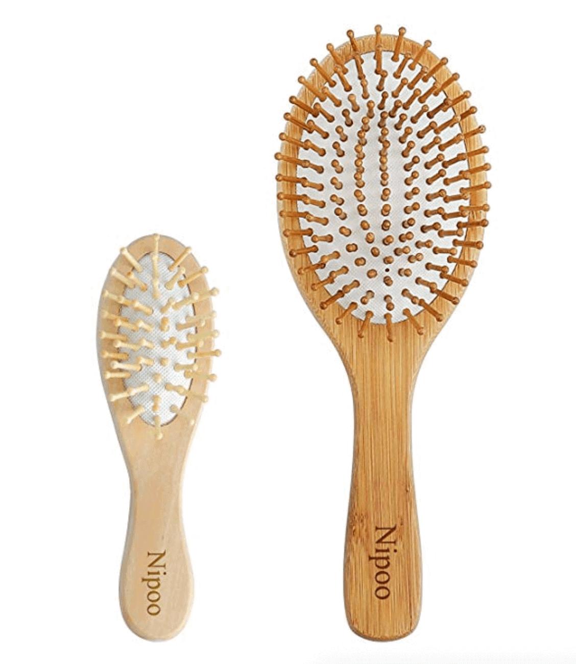 Sustainable travel gift ideas - Bamboo travel size hairbrush