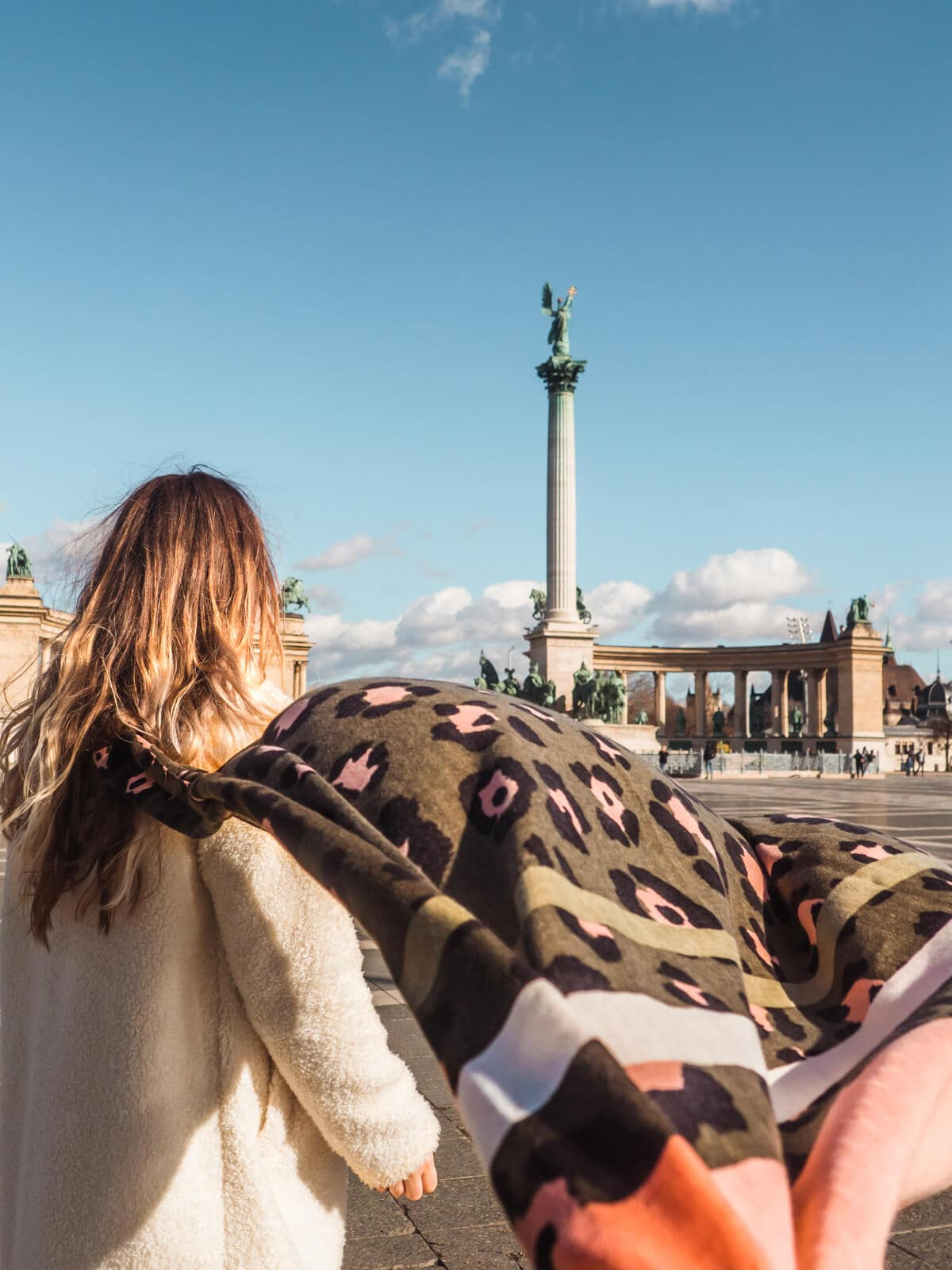 Budapest Instagram photo guide - Hero Square on a windy winder day