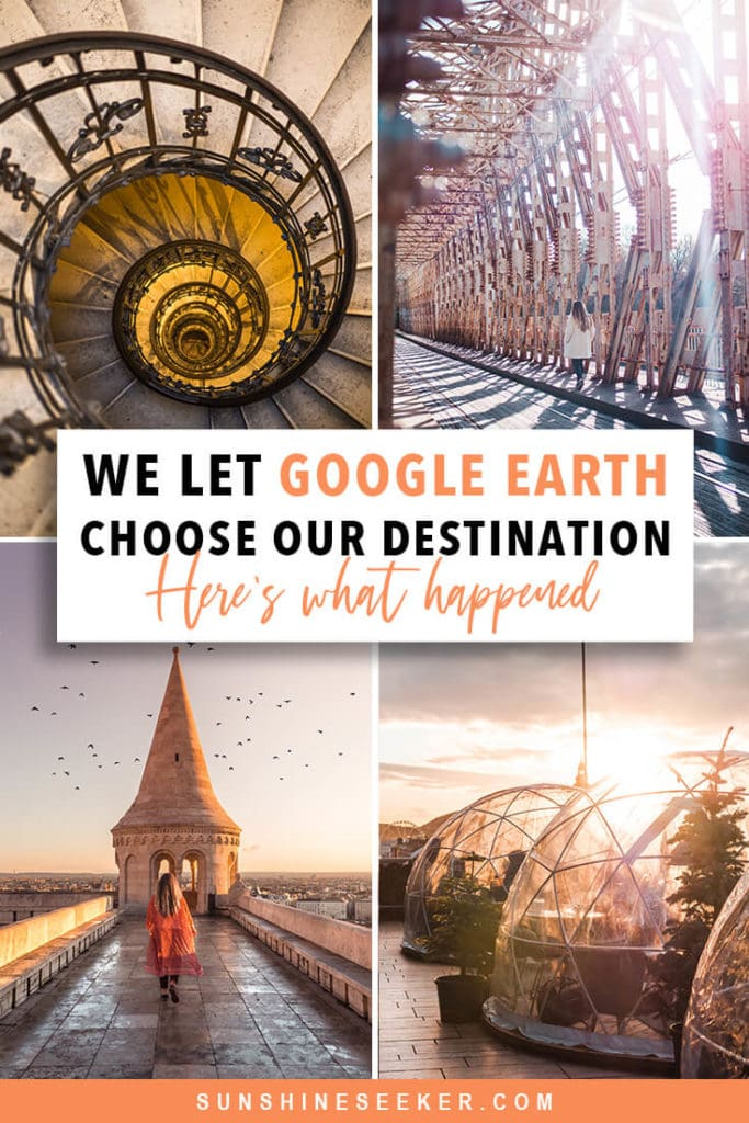 """Spontaneous travel ideas - We let Google Earth's """"I'm feeling lucky"""" feature choose our travel destination. This is where we ended up #travelinspo #bucketlist #budapest #spontaneous #travel"""