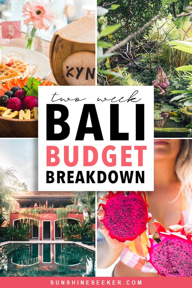 Are you wondering how much you should budget for two weeks in Bali? Click through to find out exactly how much I spent on accommodation, food, transport, shopping and activities in my daily Bali budget breakdown #bali #canggu #uluwatu #legian #eastbali #budget #travelinspo
