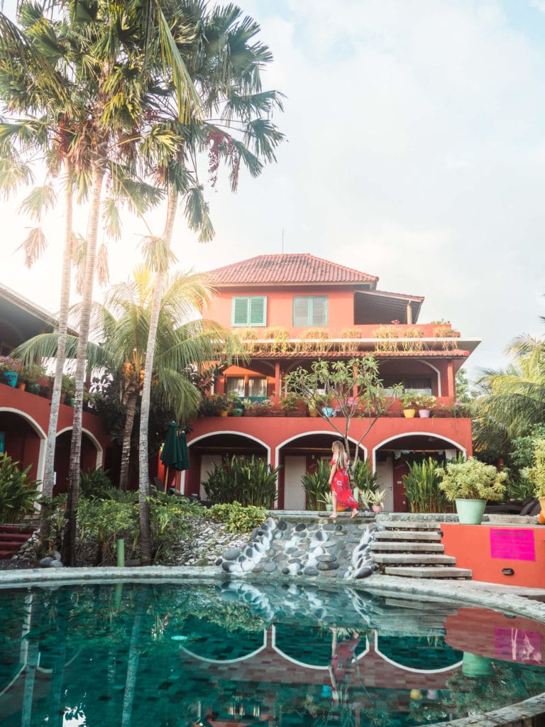 Early morning at the stunning Pink Coco Hotel in Padang Padang - Bali budget breakdown