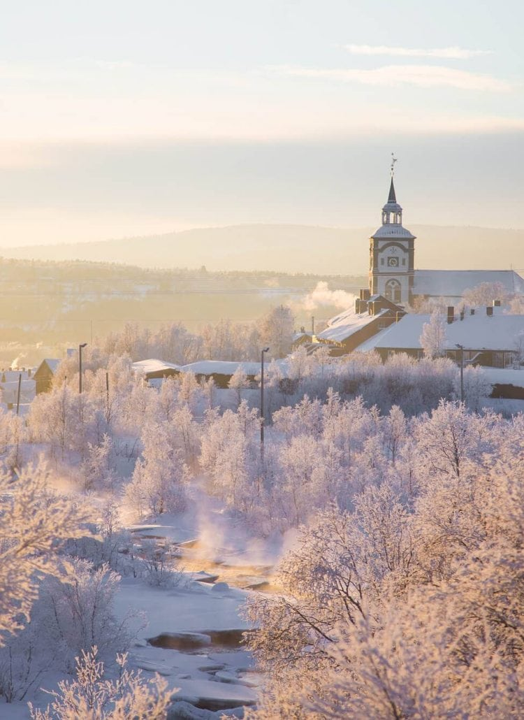 The beautiful mining town of Røros in Norway during winter