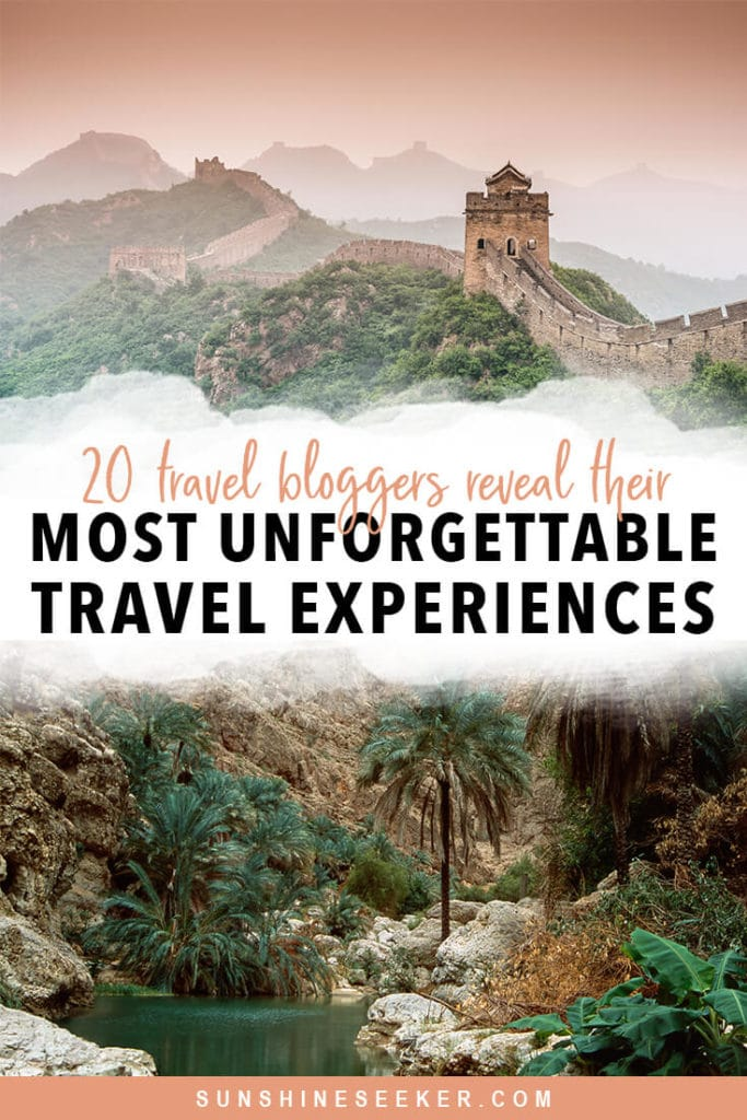 Discover 20 most unforgettable travel experiences. Travel bloggers reveal their favorite experiences in the world. From exploring lesser-known national parks to swimming in the wadis of Oman. Click through for 20 awesome bucket list ideas #travelinspo #oman #bali #bucketlist #cappadocia