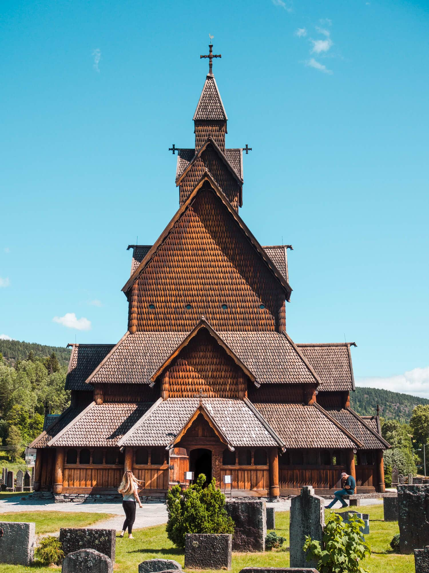 The majestic Heddal Stave Church in Telemark, Norway on a sunny day