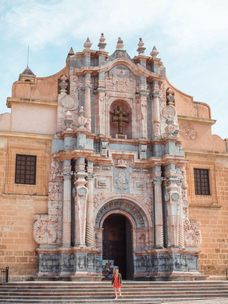 The striking Baroque facade of the Basílica de la Vera Cruz in Caravaca de la Cruz