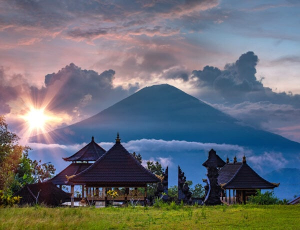 Sunset over Pura Lempuyang temple and Mount Agung in East Bali