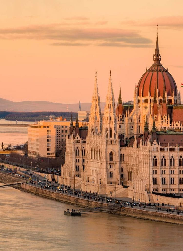 Sunset over the Danube river and Budapest Parliament - Budapest Instagram Captions