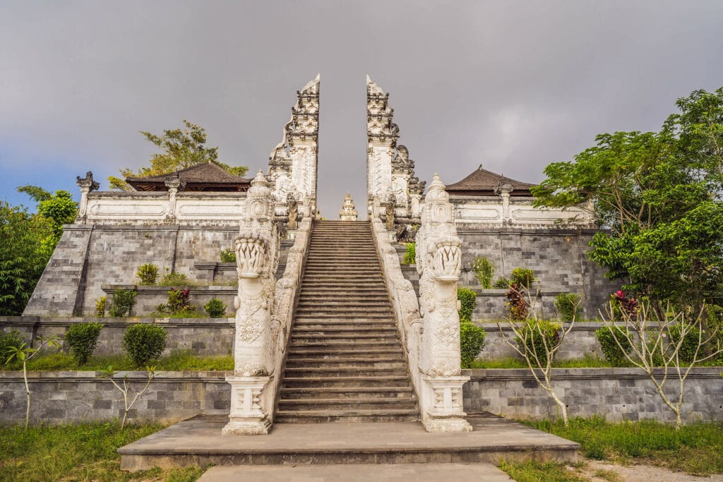 Gates of Heaven at Pura Lempuyang temple in Bali seen from the opposite side. Alternative photo spot