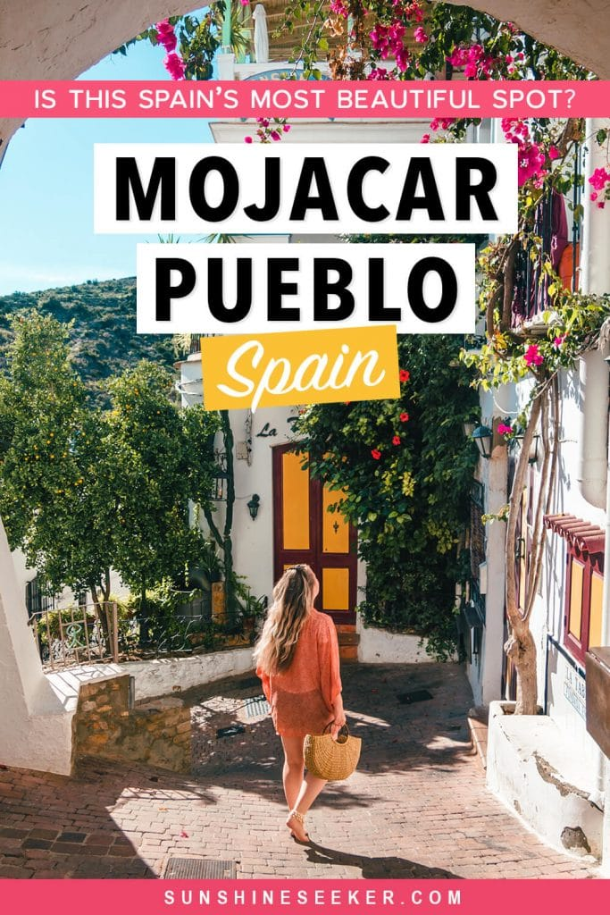 Click through to see why you should visit Mojácar Pueblo in Andalucía. One of Spain's most beautiful white villages I Things to do in Almeria I White Town Andalucía I Pueblos Blancos Andalucia I When to visit Mojácar Pueblo + The most Instagrammable street corner in Spain