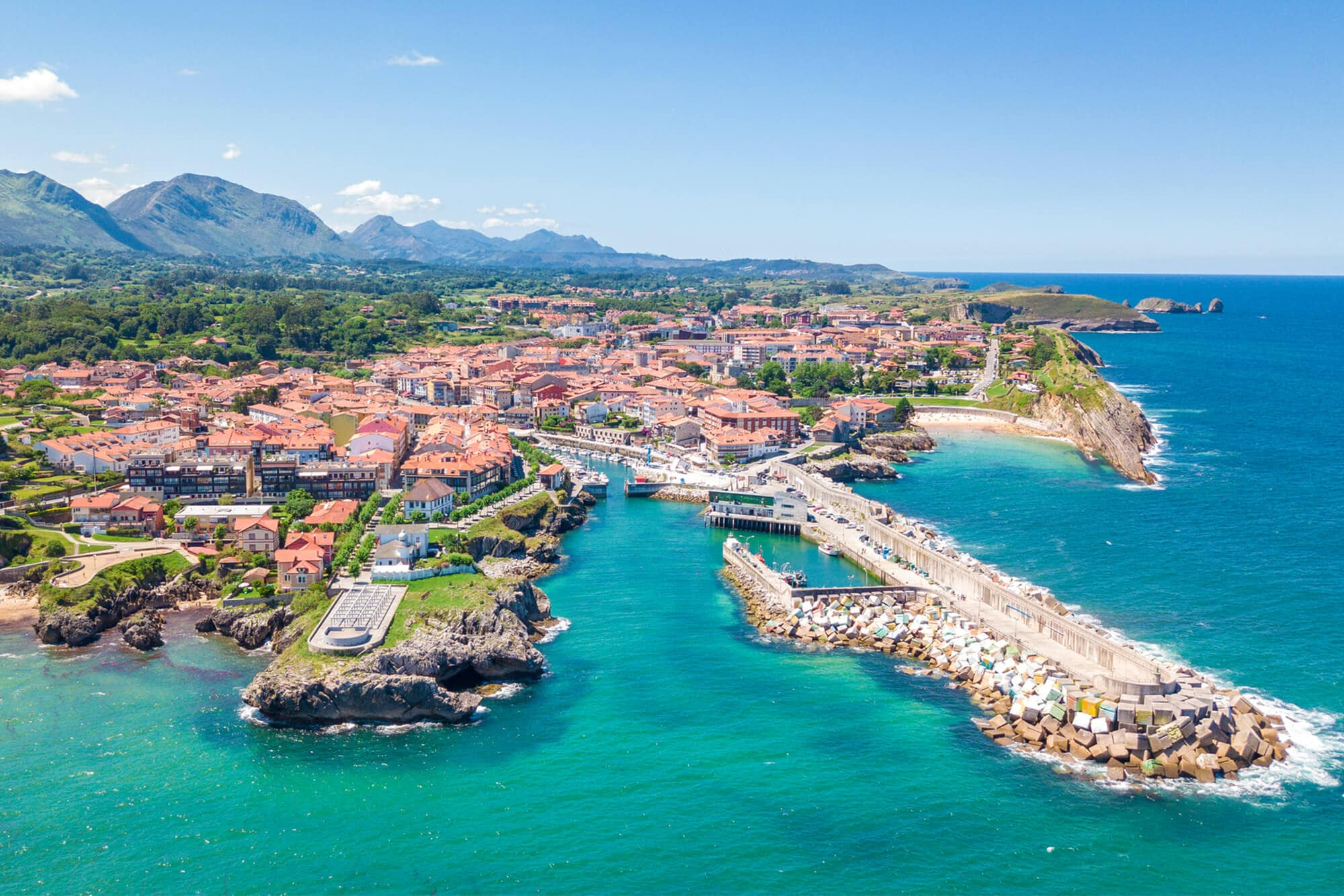 The colorful and charming Llanes fishing village seen from above - The Ultimate Spain Bucket List