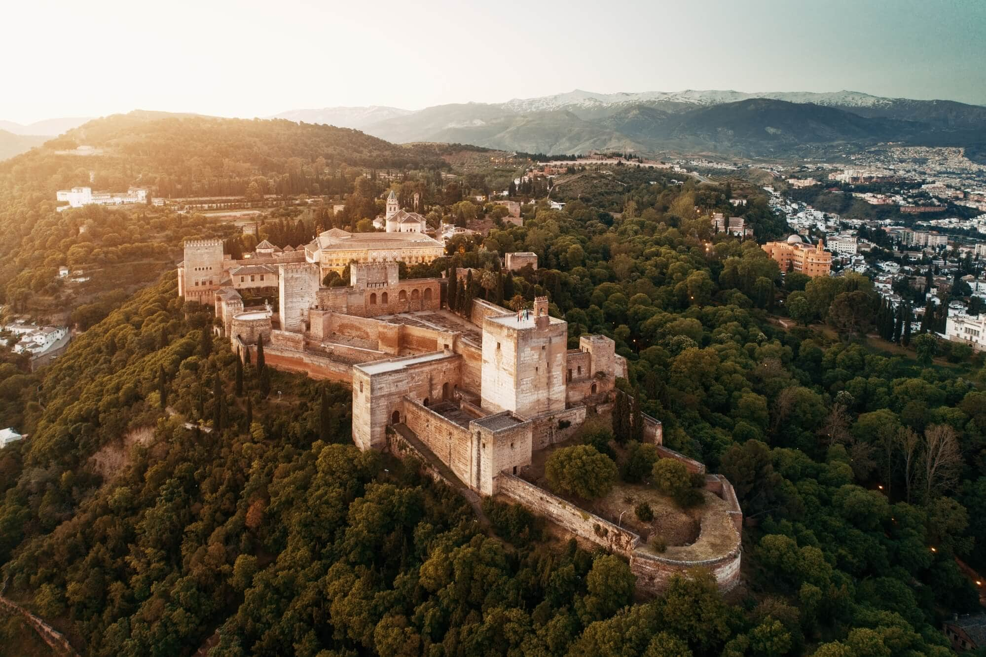 Spain quotes and puns for Instagram captions - Bird's eye view of the impressive Alhambra in Granada
