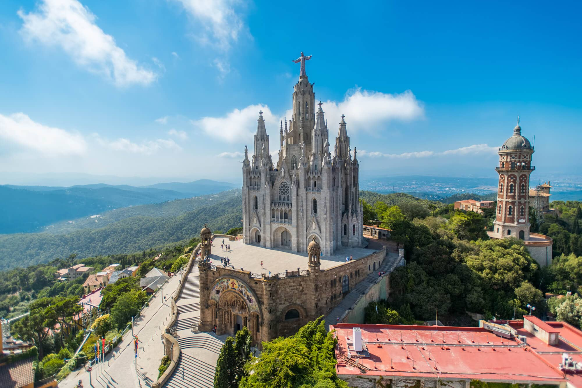 Spain quotes and captions for Instagram - Sagrat Cor, a church on the summit of Mount Tibidabo in Barcelona, Catalonia