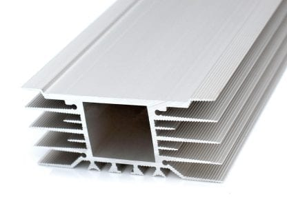 Heat sink aluminum profile SVETOCH STRADA with wide installation surface for LED modules for LED lighting in industry, commerce, indoor and outdoor halls