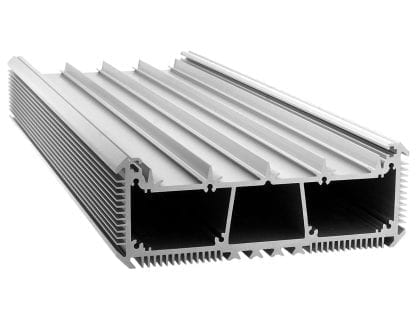 Led radiator aluminium profile SVETOCH with guide rails for LED stripes, protective disc and attachment to wall and ceiling with cooling ribs for heat dissipation