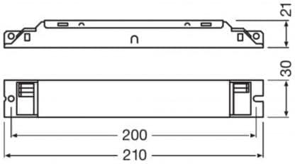 technische Zeichnung Treiber OSRAM Optotronic OF FIT 120/220-240/750 D LT2 L für LED Beleuchtung