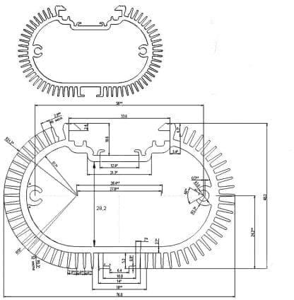 technische Zeichnung Aluminiumprofil SVETOCH SOLO