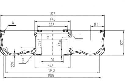 Technische Zeichnung mit Abmessungen des LED Aluminiumprofils SVETOCH ARCTIC
