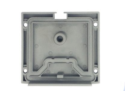 End cap inside SVETOCH QUADRO for aluminum profiles for LED luminaires with recesses for silicone seal and boreholes
