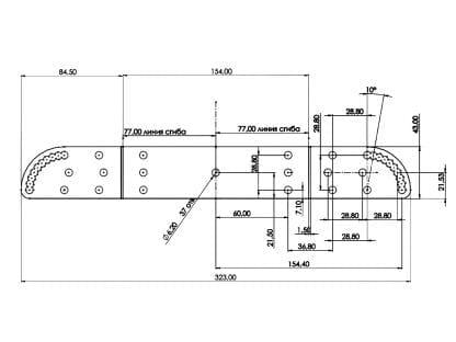 Technische Zeichnung mit Abmessungen der Profilbefestigung SVETOCH WALL 180