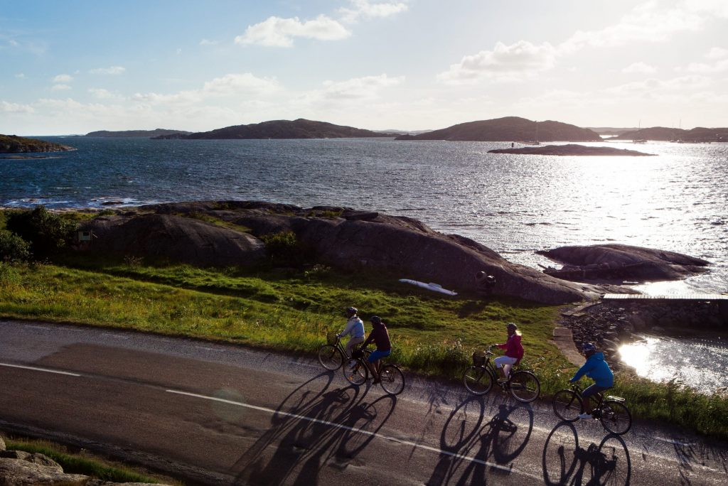 A group of people cycling at their conference in Bohuslän