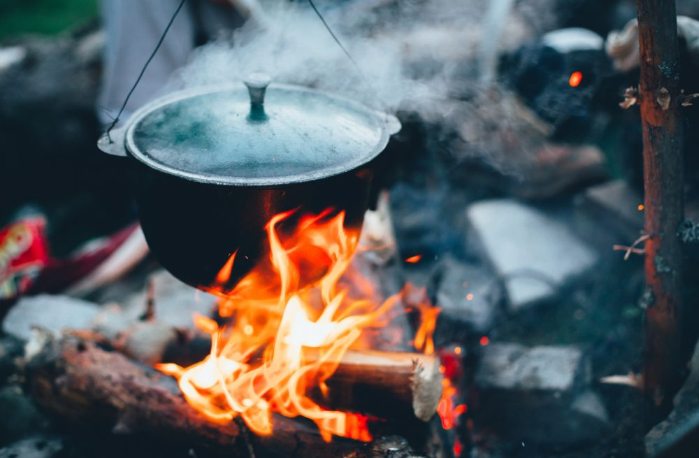 Large kettle on fire