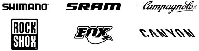 Noen av hovedmerkene til Sykkelverket: Shimano, SRAM, Campagnolo, RockShox, Fox, Canyon