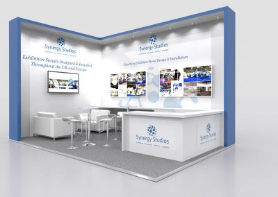 6m x 4m Exhibition Stand Design. Open 2 Sides