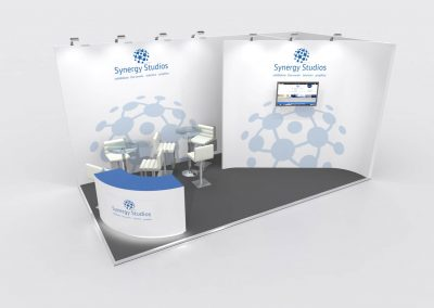 6m x 3m Exhibition Stand Design-Curved Walls Design Branded
