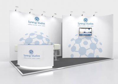 6m x 3m Exhibition Stand Design-Curved Walls