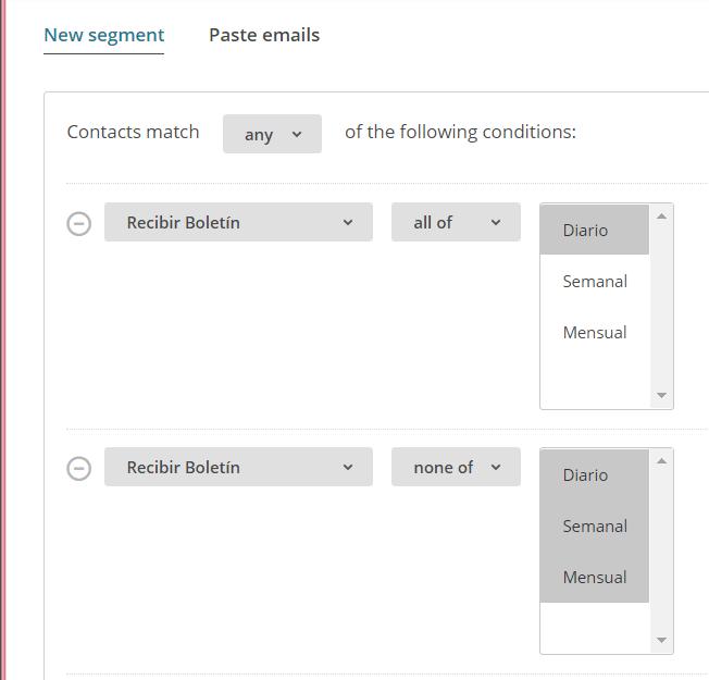 Condiciones para segmentar los envíos de Newsletter de Mailchimp por frecuencia