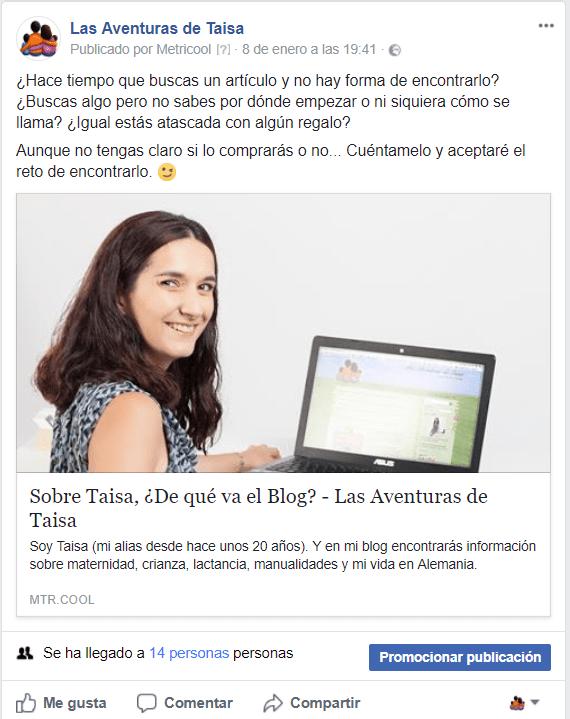 Entrada de la página de Facebook con poca visbilidad