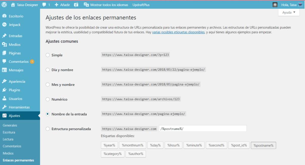Configurar los enlaces permanentes de un Blog de Worpdress
