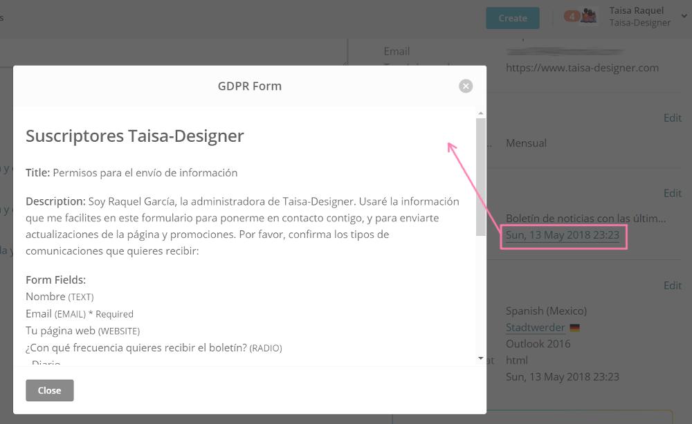 Dónde consultar el consentimiento de tus subscriptores de Mailchimp