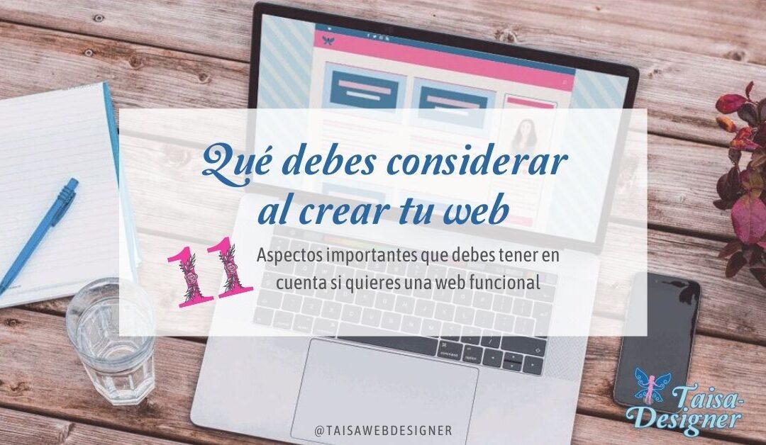 Aspectos a considerar al crear tu web