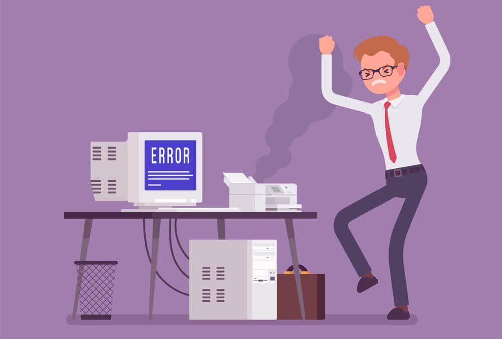 Hosting - Problemas - Imagen ilustrativa usuario enfadado con su ordenador que muestra un error
