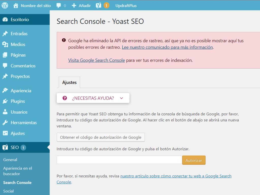 Cómo conectar tu web a la Search Console