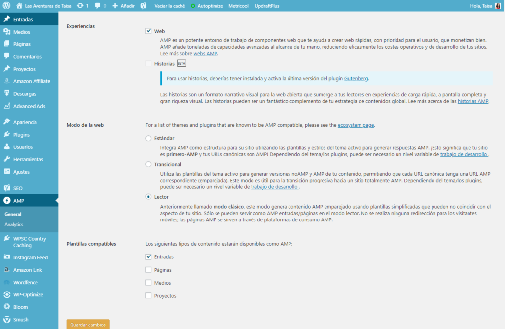 Ajustes del plugin AMP en WordPress