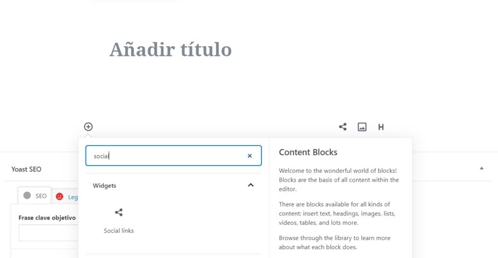 Nuevo bloque Social Media en Gutenberg