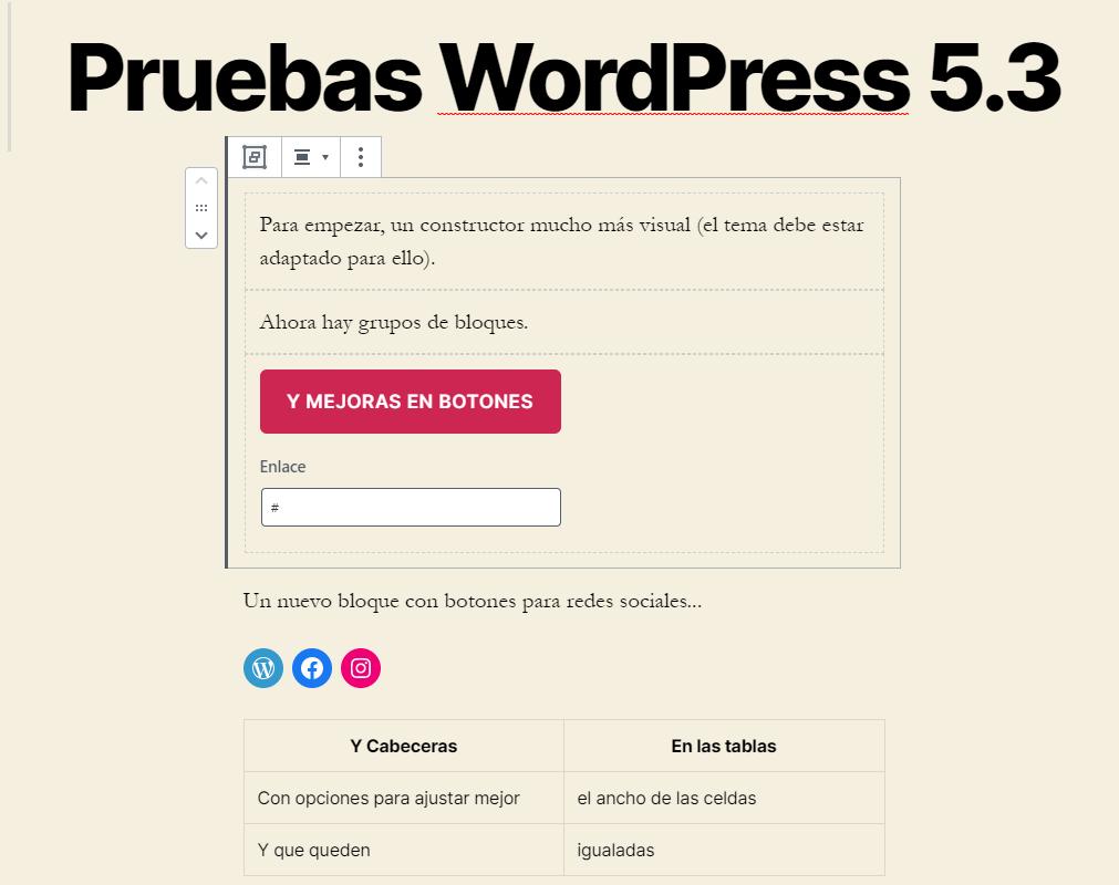 cambios en Gutenberg con WordPress 5.3 - Grupos de bloques