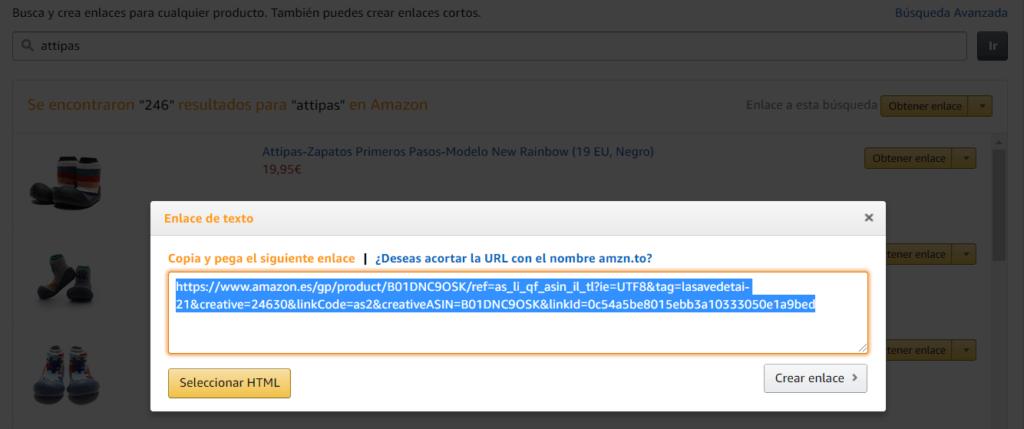 Obtener un enlace de Amazon Afiliados