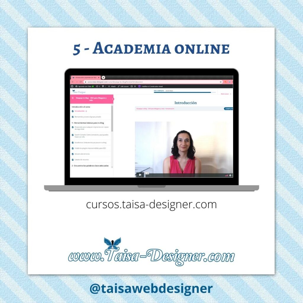 Tipos de páginas web: Ejemplo de Academia Online de cursos
