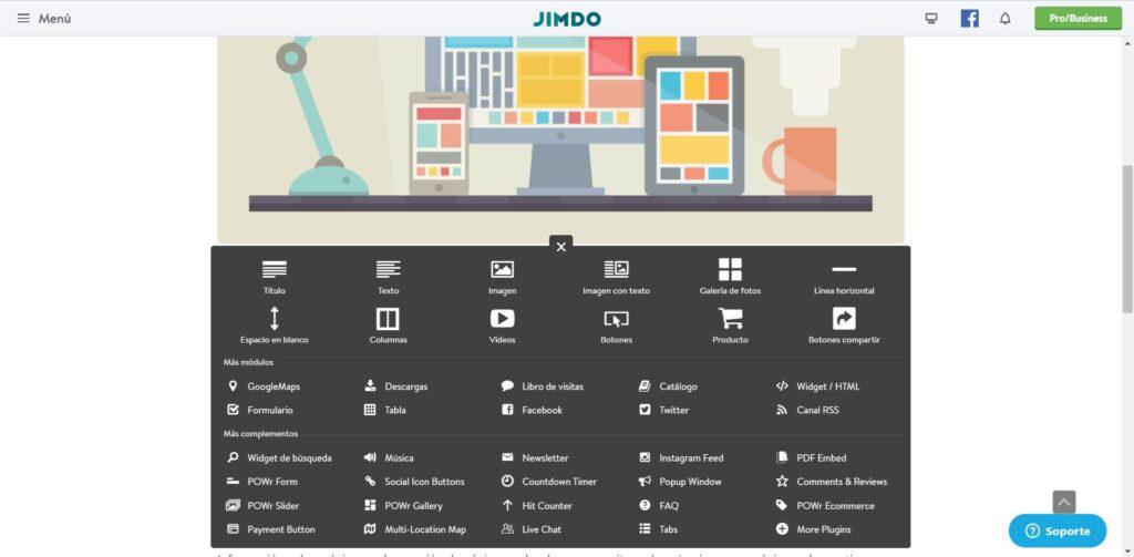 Constructor de páginas web gratuito Jimdo