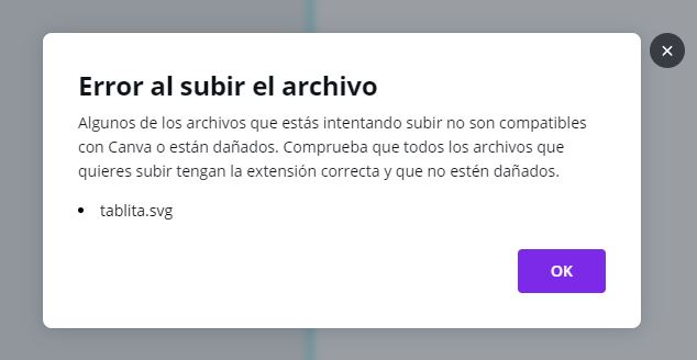 Error al subir un archivo SVG a Canva